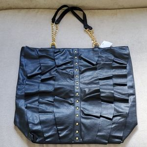 NWOT BLACK Faux Leather  Ruffle Tote